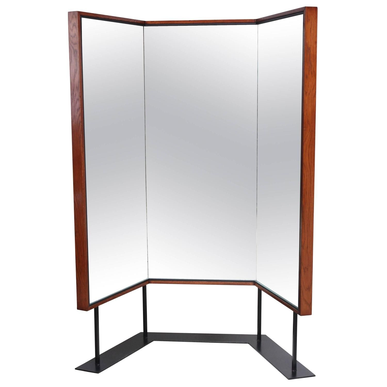 Mid-Century Free-Standing Three-Panel Mirror In 2020