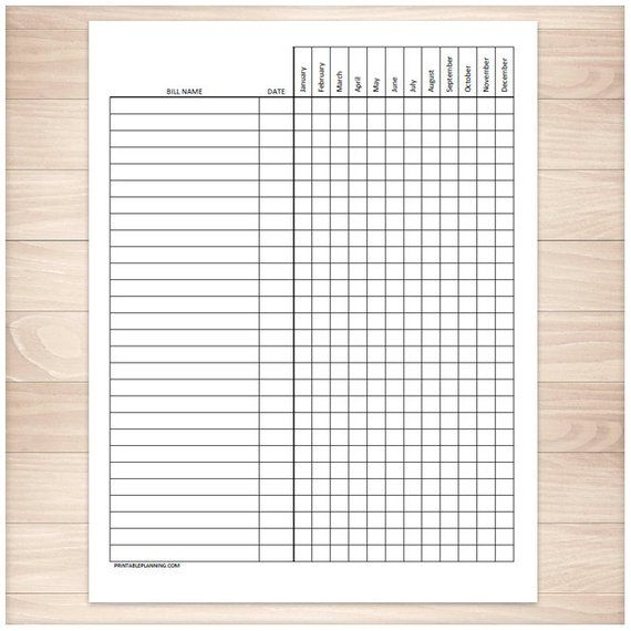 printable bill payment tracker log paying bills checklist