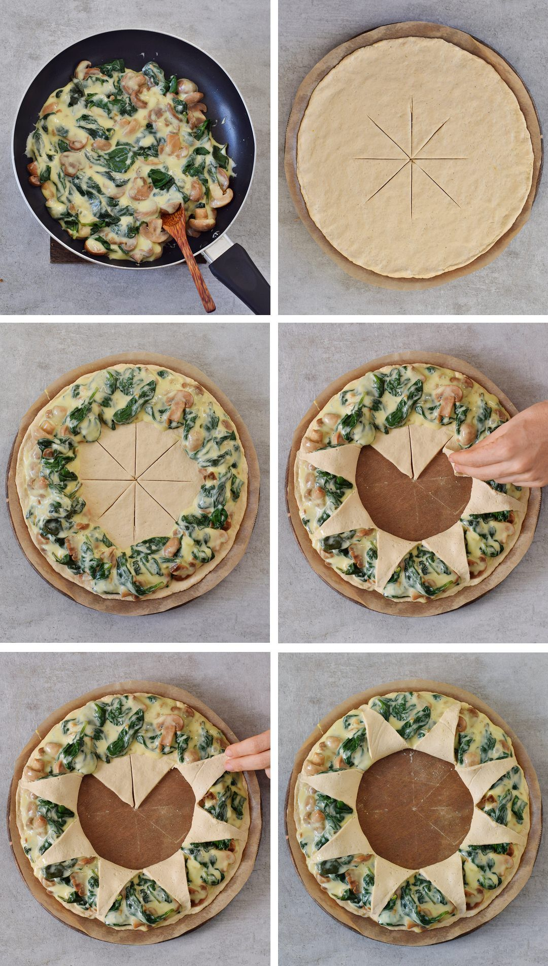 This pizza ring also known as Pizza Corona with spinach mushrooms and vegan cheese is a great party food which will impress your guests The recipe is vegan glutenfree and...