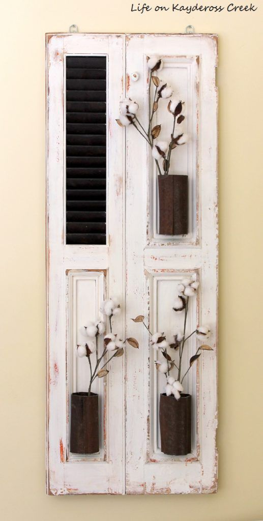 How to Make Farmhouse Wall Decor  Fixer Upper Style is part of Home Accessories Decor Life - Farmhouse wall decor  Fixer Upper style  How to create a unique piece of art from an old shutter and a little bit of creativity