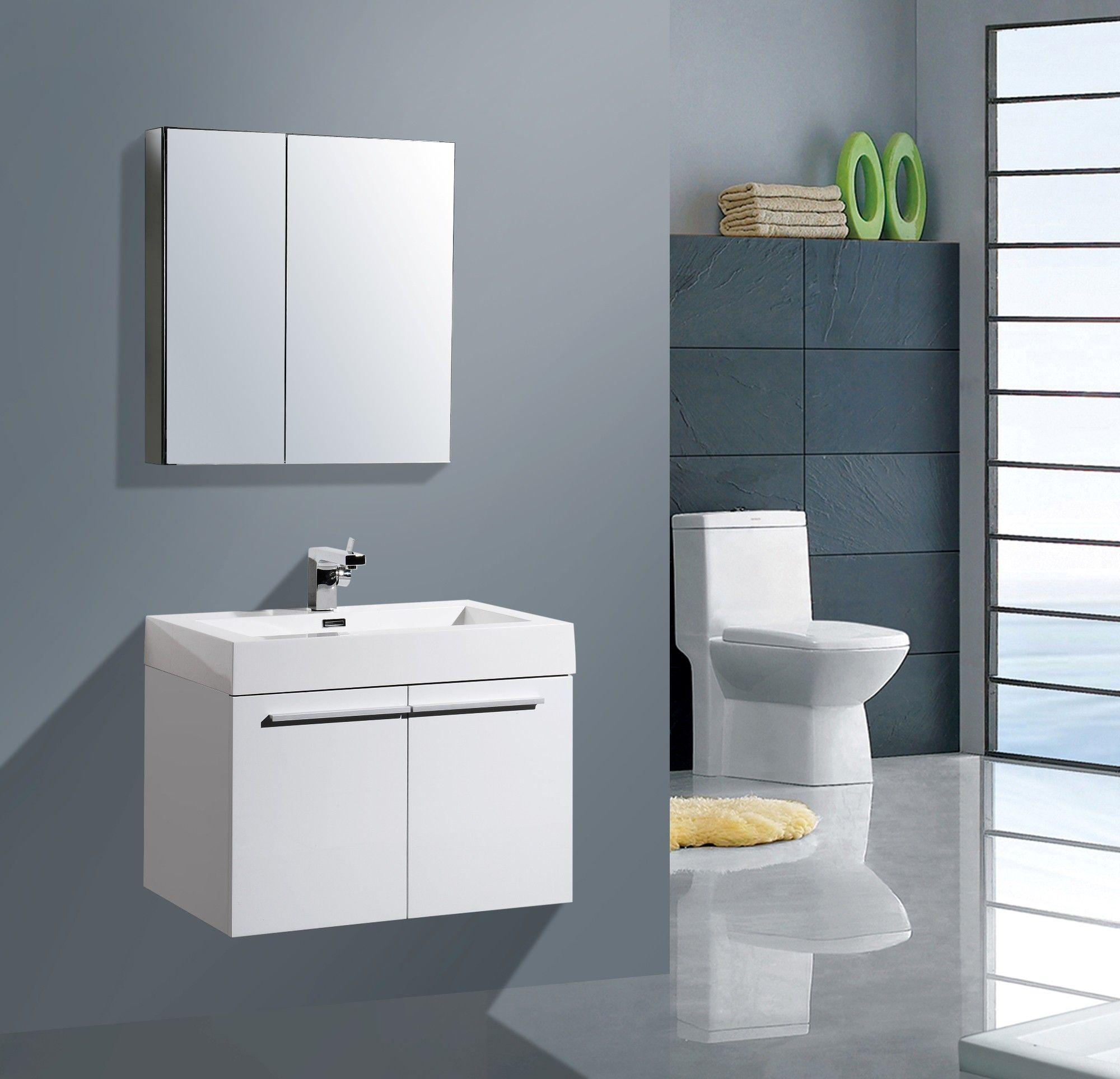 "Aqua Decor Jacob 285"" Modern Bathroom Vanity Set  White Mesmerizing Designer Bathroom Cabinet Inspiration"