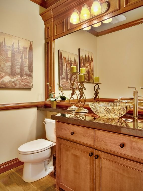 Craftsman Powder Room with Vessel sink, wall-mounted above mirror ...