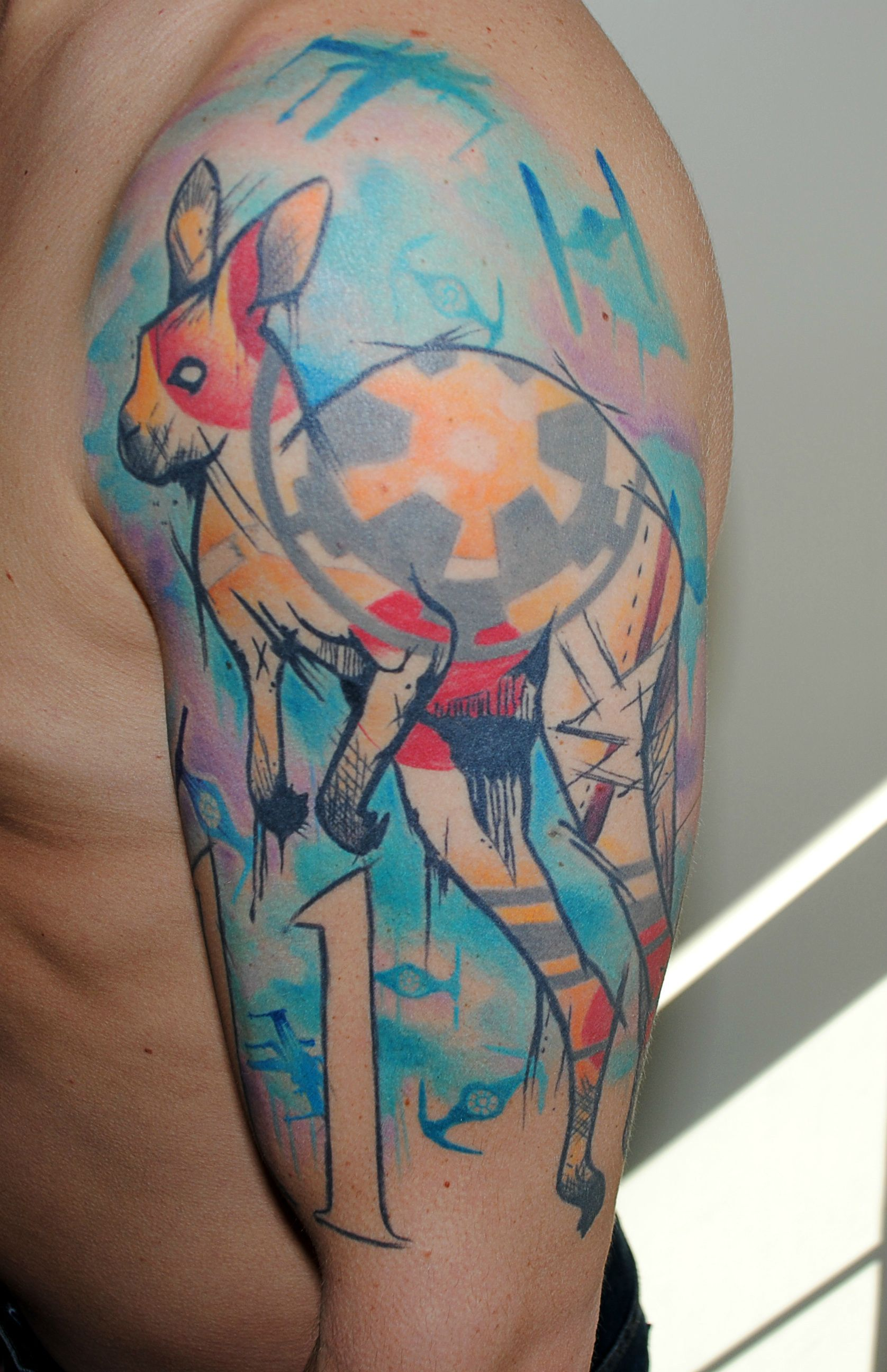 Austin Watercolor Tattoo: First Tattoo, Half Sleeve Done By Ben Dipietro, Atomic