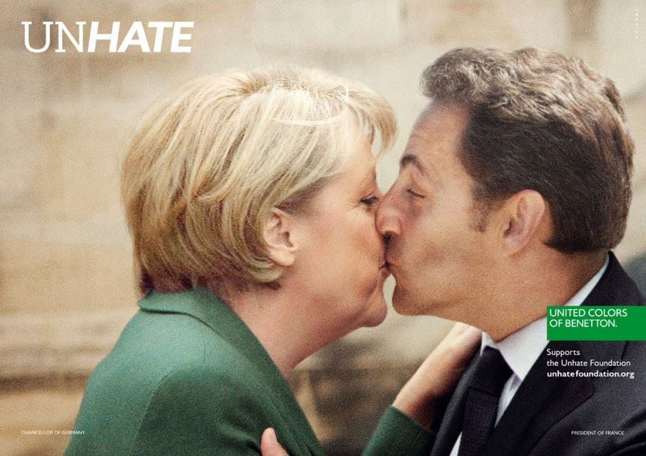 Merkel & Sarkozy. Unhate campaign by Benetton.