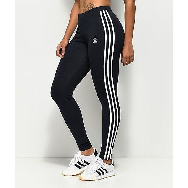 adidas 3 Stripe Dark Blue Leggings ❤ liked on Polyvore featuring pants,  leggings, adidas