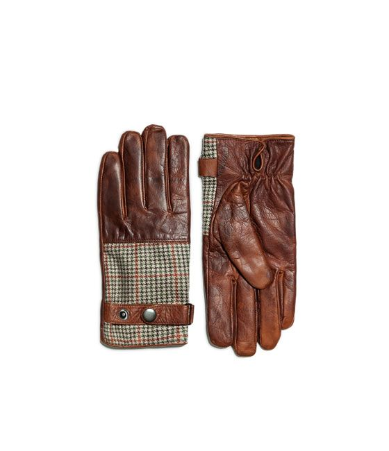 ZARA - MAN - COMBINATION PRINTED LEATHER GLOVE