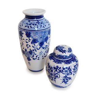 Blue and White Porcelain Japanese Vases