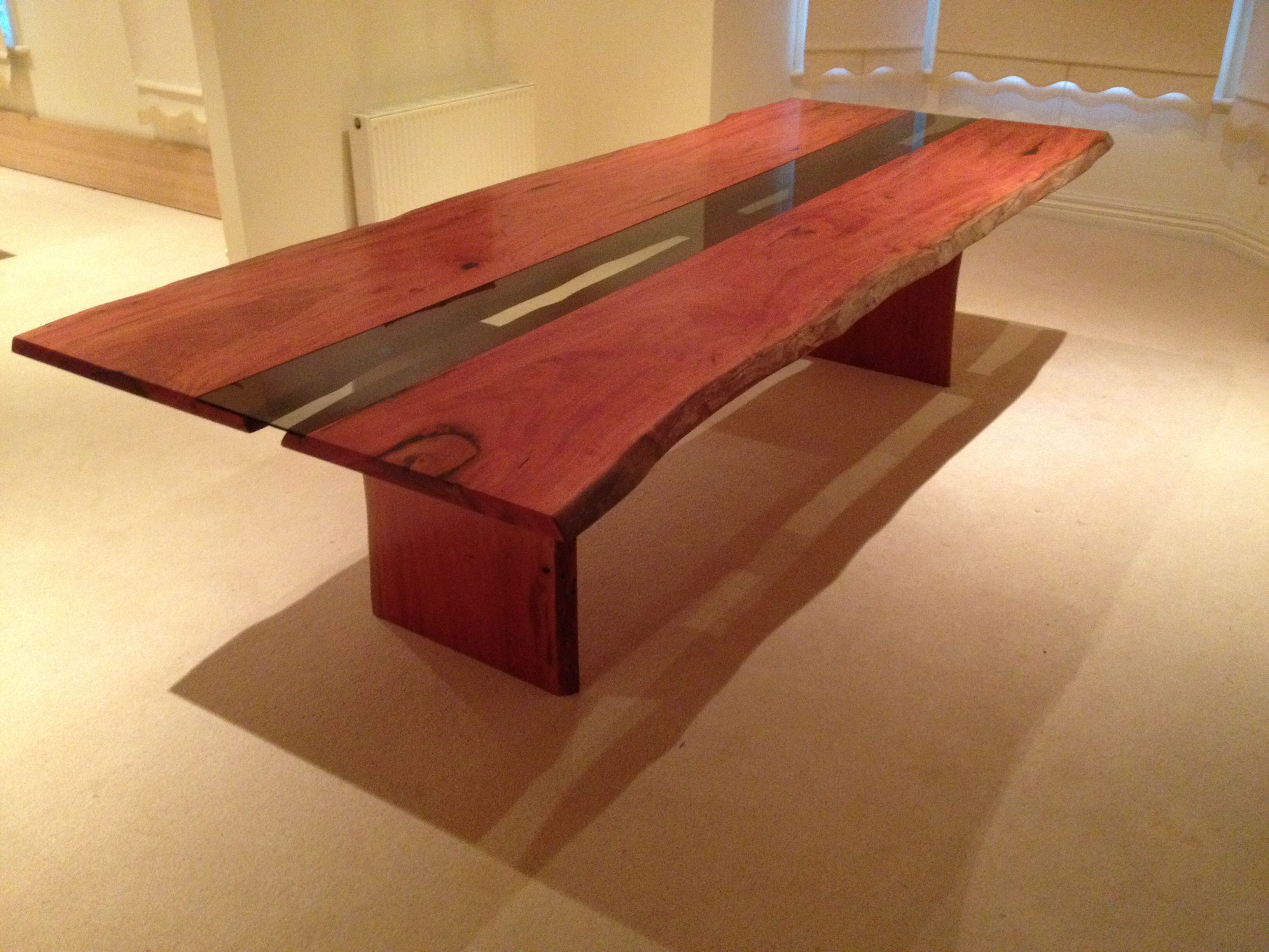 Made To Order Redgum Slab Table With Recessed Glass Inlay