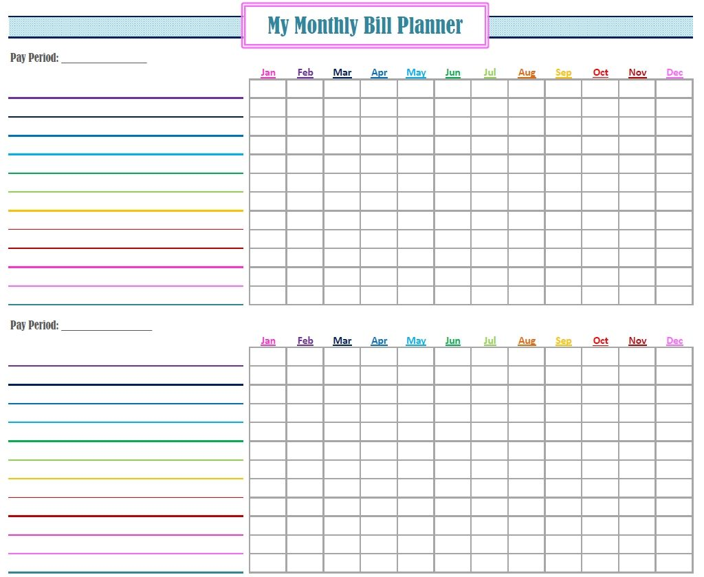 Monthly Bill Log Template Free Printable Monthly Bill Tracker