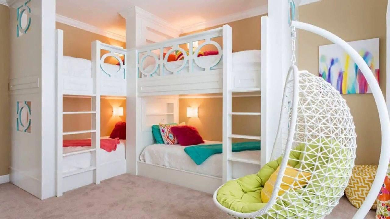 Double loft bed ideas   Bunk Bed Ideas DIY For Kids Fort With Slide Desk For Small Room