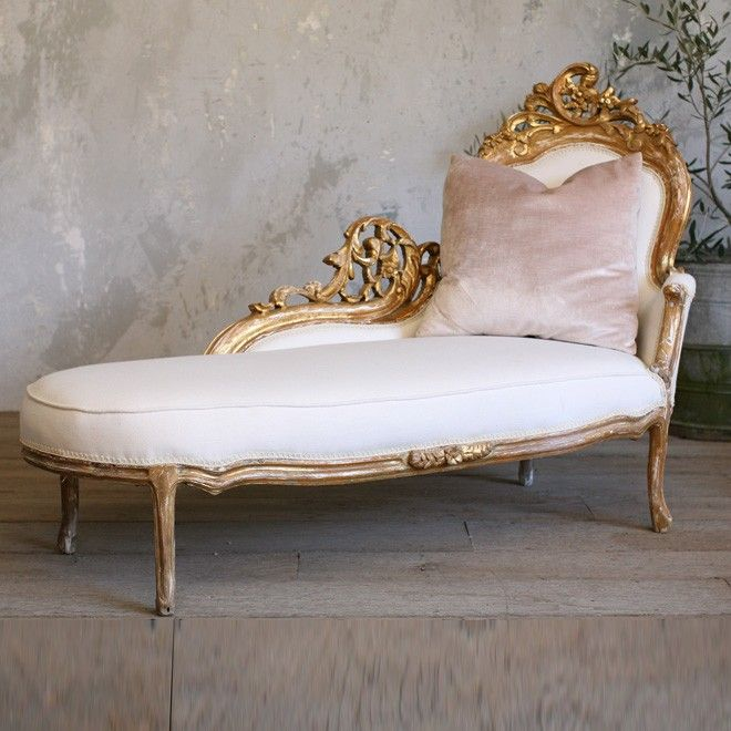 Vintage Louis Style Gold Gilt Chaise Lounge Tthebellacottage Shabby Chic Furniture French Decor Chic Furniture