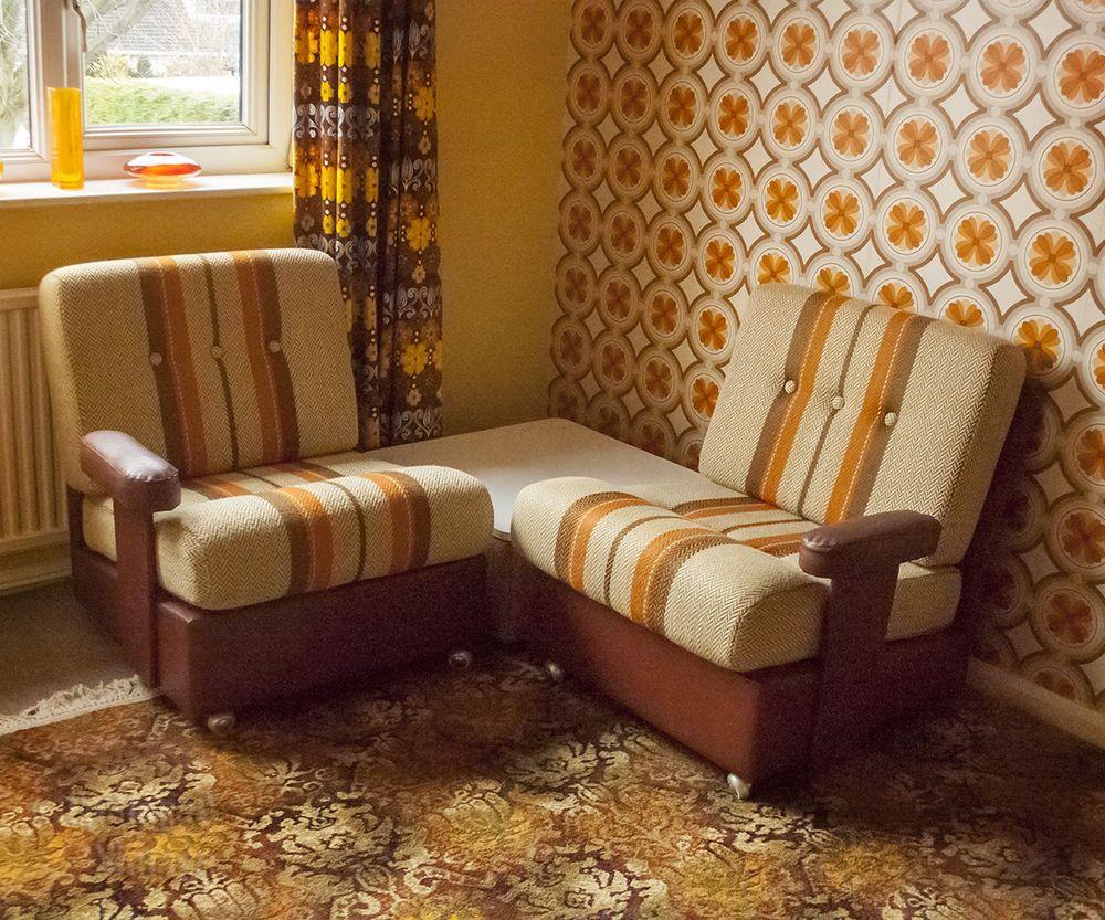 Vintage ss orange stripe mobel modular sofa set u coffee