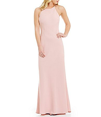 Calvin Klein Crepe Halter Gown Clothes Halter Gown Gowns Dresses