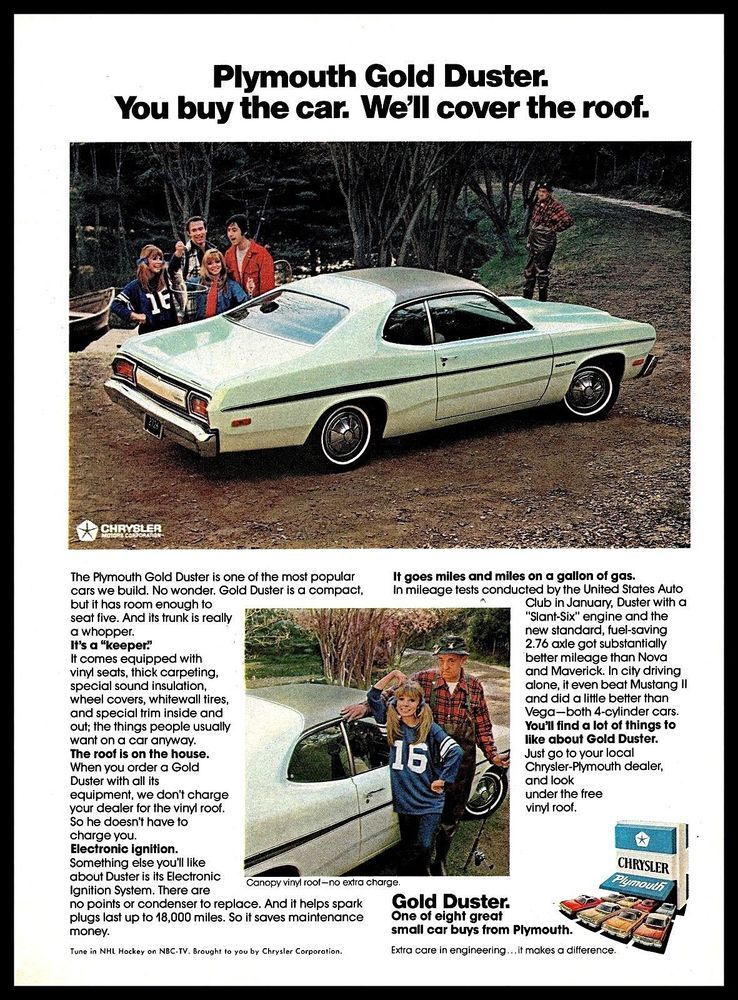 1974 Chrysler Plymouth Gold Duster Car Canopy Vinyl Roof 1970s Vintage Print Ad Plymouth Duster Car Advertising Car Ads