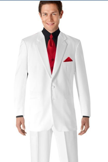 White Tux Red Tie And Vest Black Shirt For Him