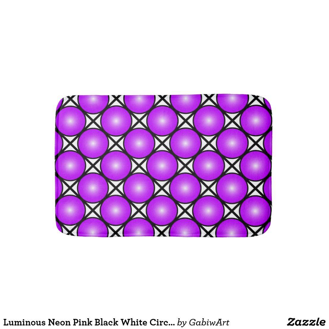 Badematte Schwarz Magenta Pink Dots Black White Lattice Pattern Bath Mat Zazzle
