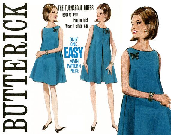 1960s Tent Dress Pattern Bust 38 Butterick 4601 Easy to Sew Flared A ...