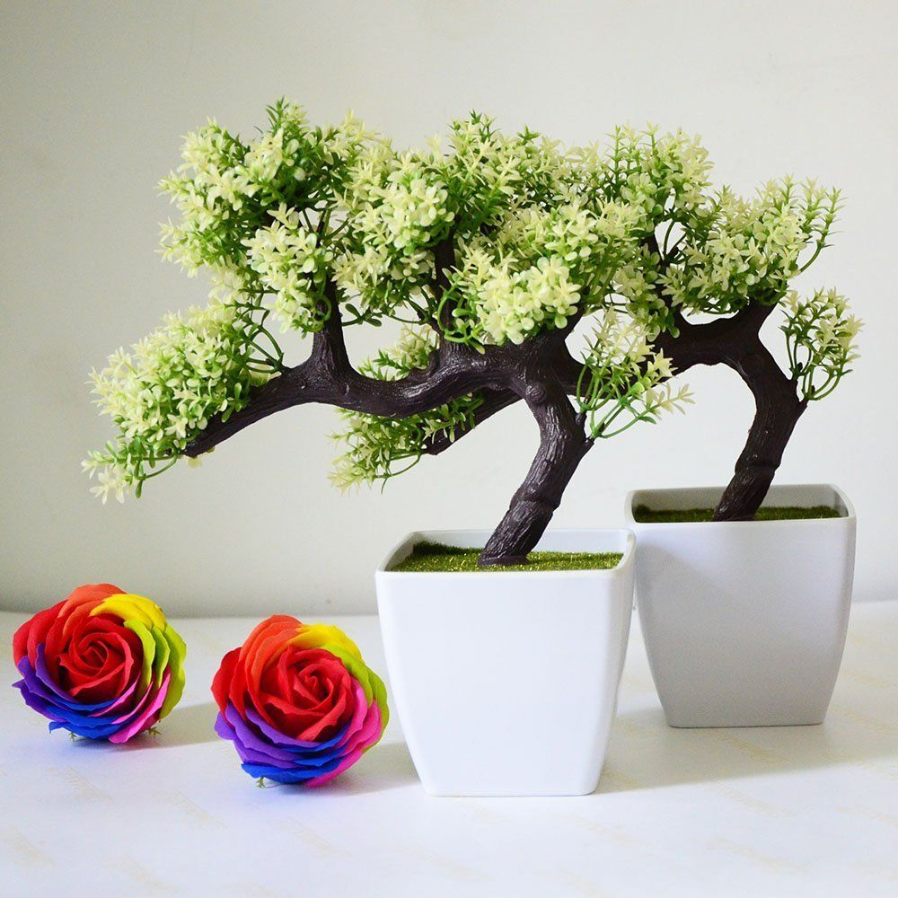 artificial plants for office decor. Artificial Plant Pine Bonsai Nearly Natural Tree For Home Office Decoration Plants Decor