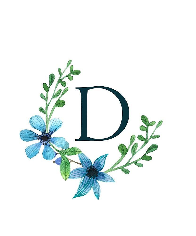 Monogram D Pretty Blue Flowers Sticker By Floralmonogram Blue Flowers Floral Monogram Monogram