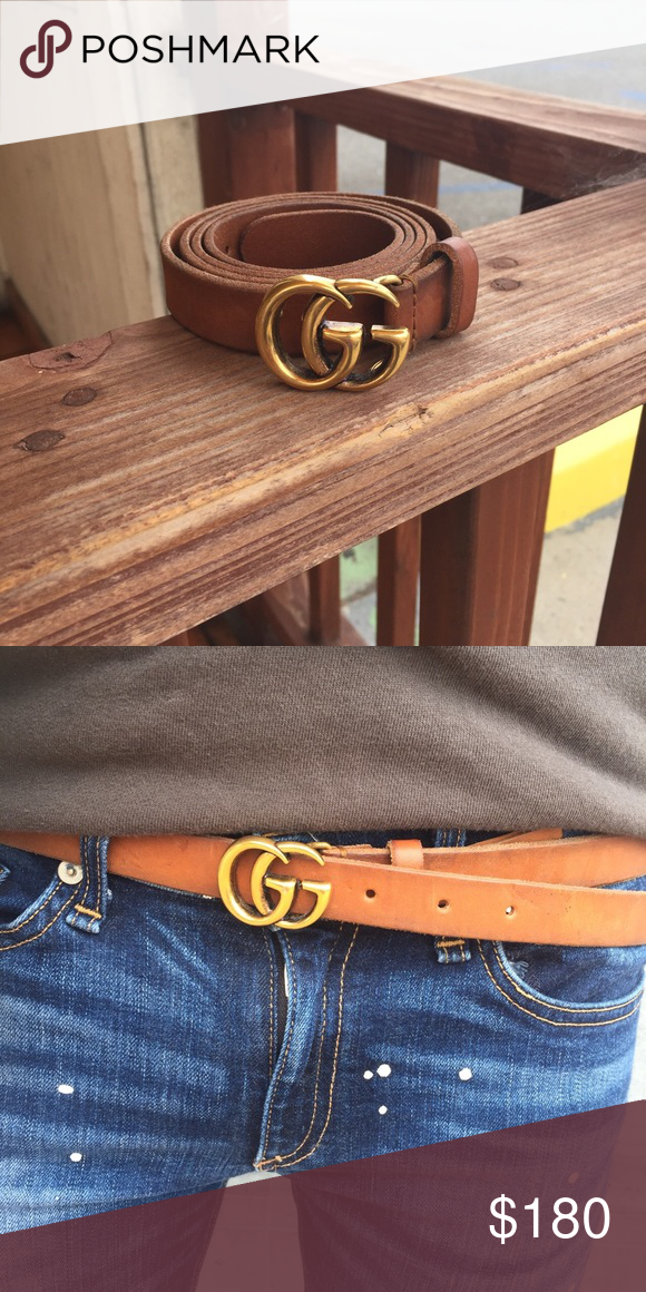 e3b48ac9e Tiny double GG Gucci Belt FW 16 Size small, I'm a 28 waist and it fits on  the last hole. It's brown leather with a Gold double GG. Goes perfectly  with every ...