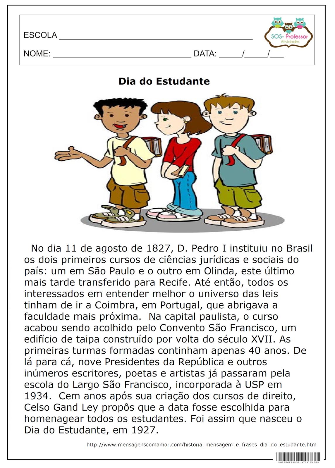Sos Professor Atividades Dia Do Estudante Português Education