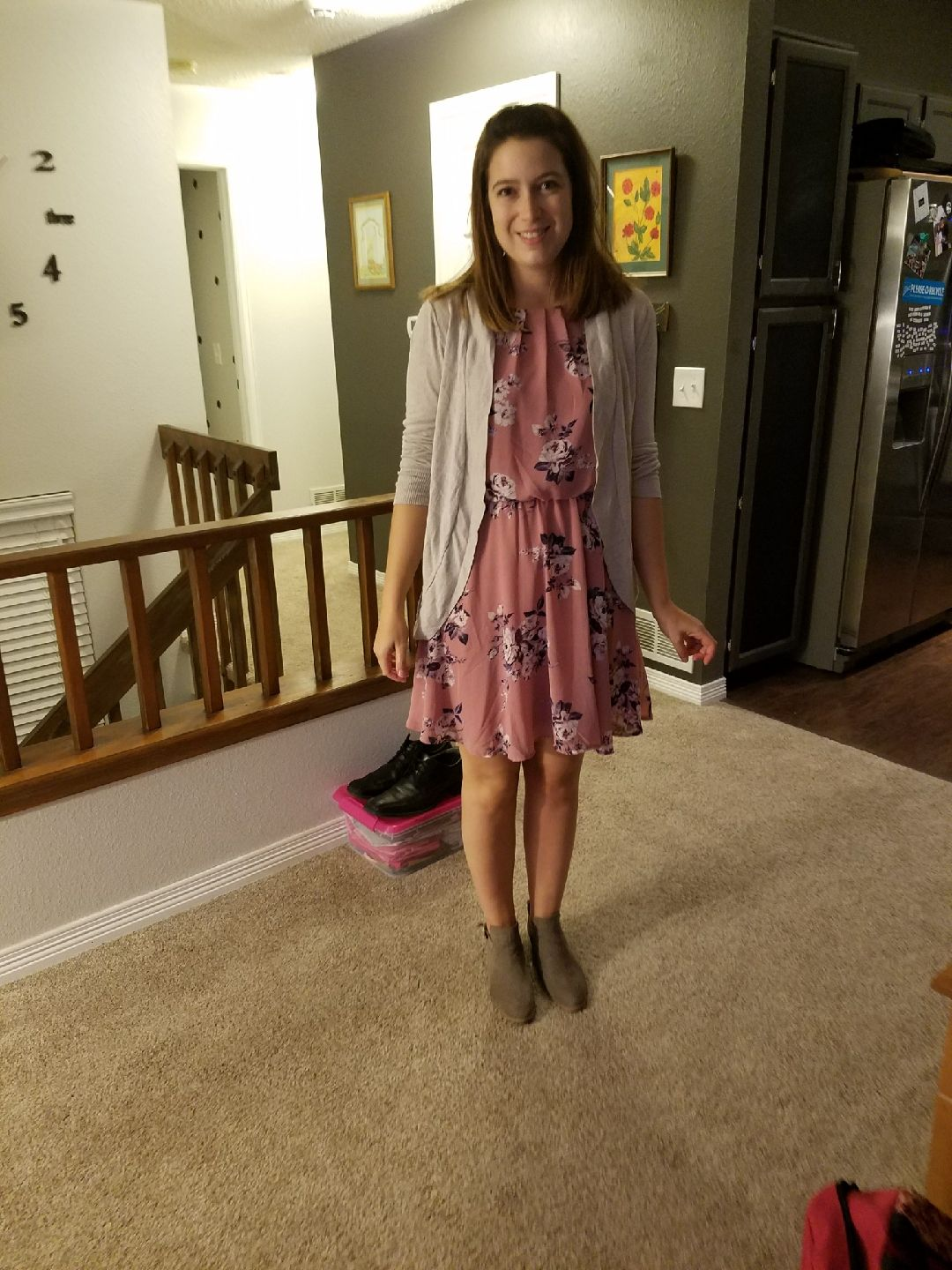 Pink sweater dress outfit  Pink floral halter dress from Francescaus Tan boots and sweater