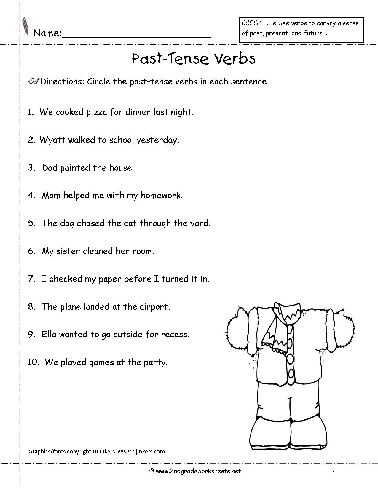 Worksheets On Past Tense For Grade 2   Verb worksheets [ 1650 x 1275 Pixel ]