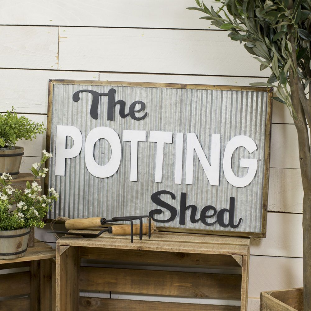 The Potting Shed Sign Wood Framed Metal Wall Mounted Decorative Garden Sign 671495433859 Ebay Shed Signs Potting Shed Garden Signs