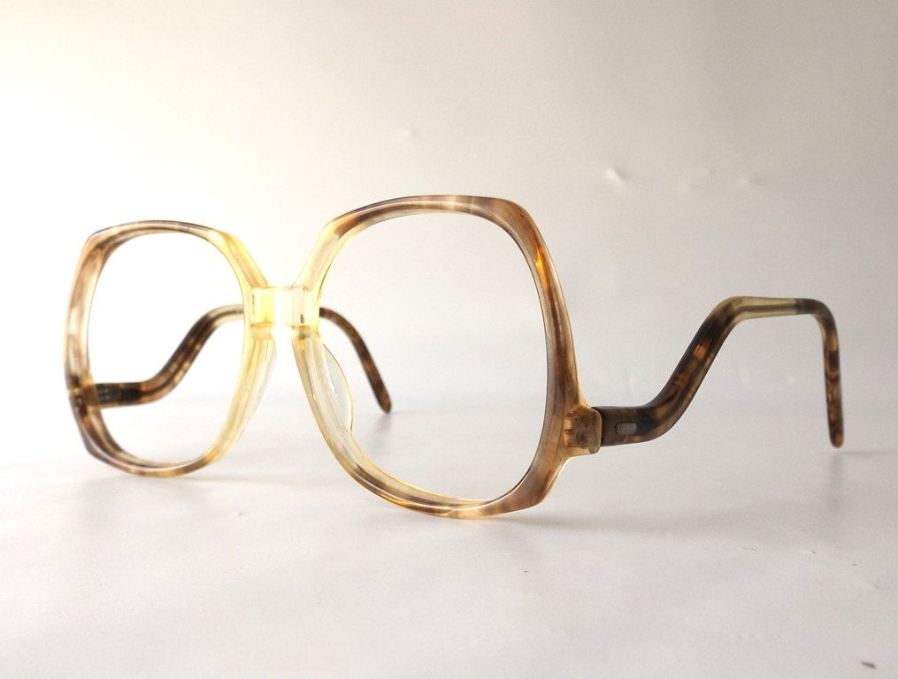 7994ac4903 vintage 70 s 80 s square drop arm eyeglasses frames oversized retro eye  glasses eyewear optical used plastic translucent brown tan neutral by ...