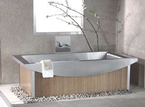 Recycled Stainless Steel Bath Tub With Bamboo Panel Exterior   Fantasia  Showrooms