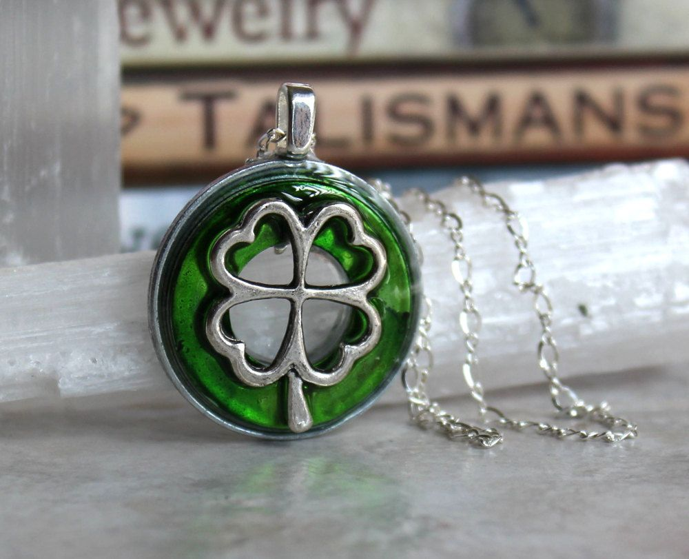 green four leaf clover necklace, lucky jewelry, lucky necklace, good luck charm, irish jewelry, unique gift, st patricks day, womens gift by NatureWithYou on Etsy