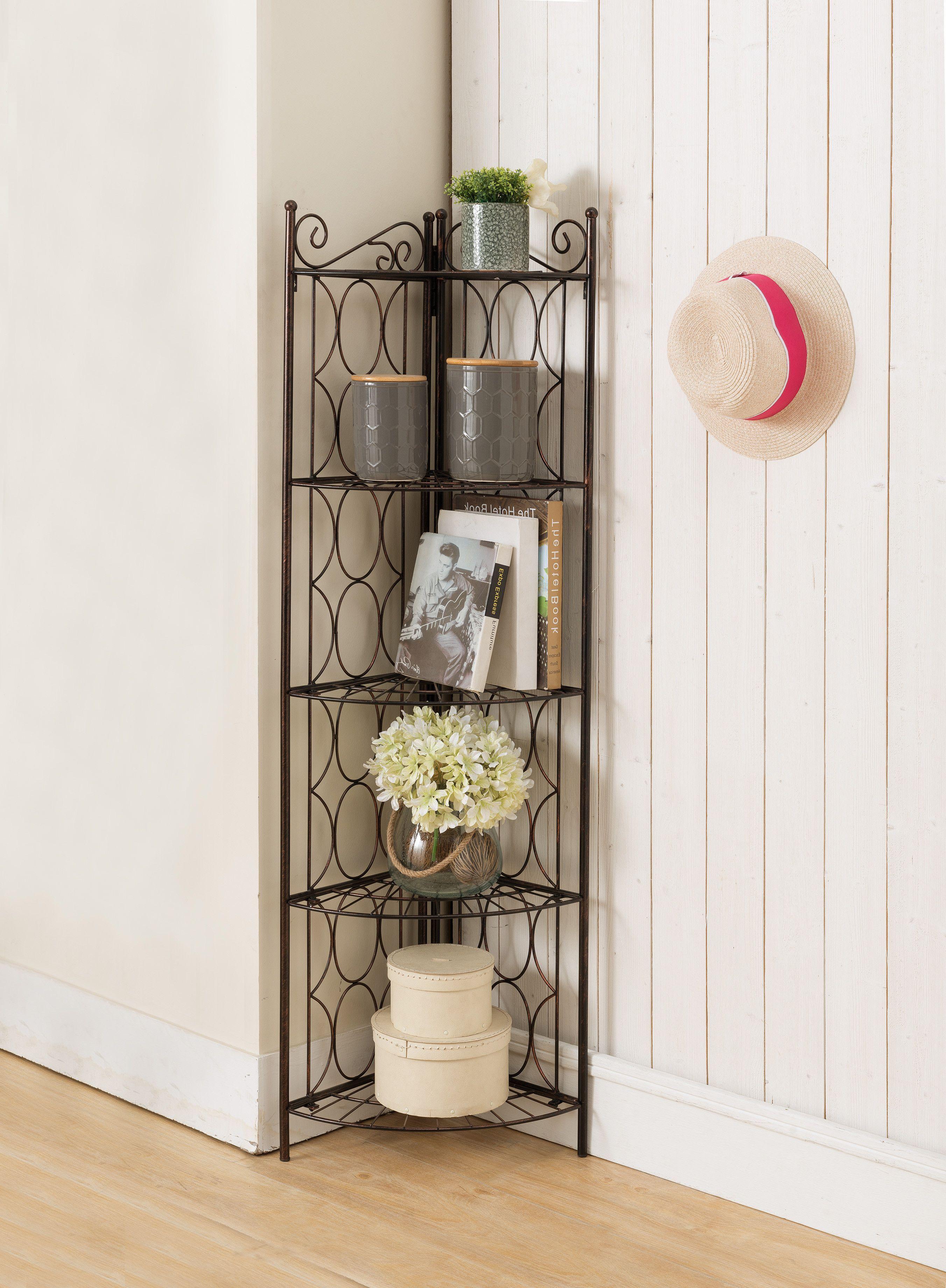 Brushed Copper Metal 5 Tier Transitional Corner Bookshelf Organizer Display Unit