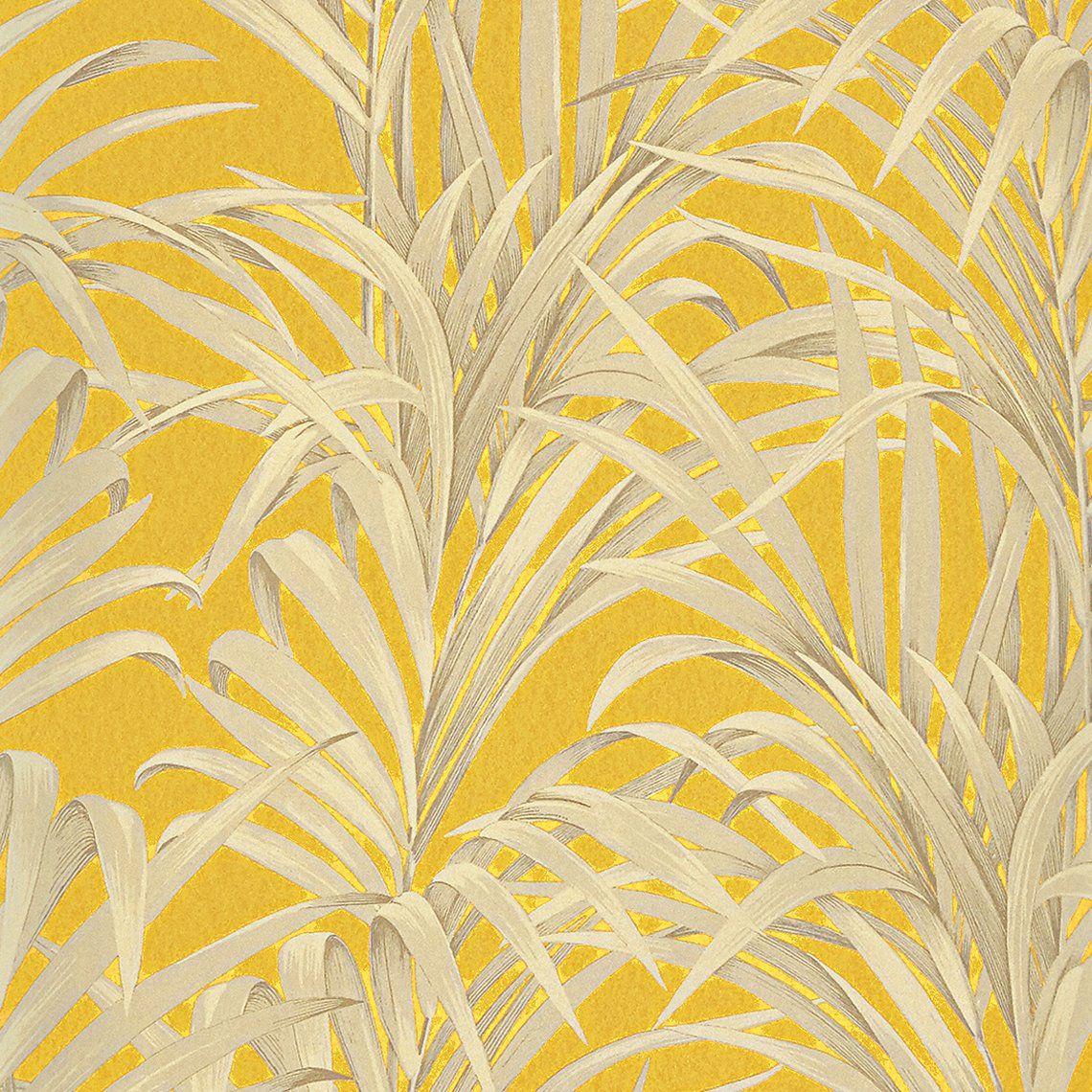 Papier peint DOMITILLE 100% intissé motif tropical, jaune moutarde