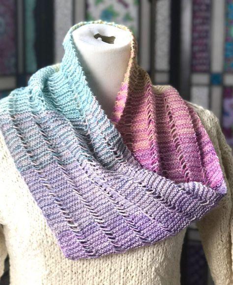 Free Knitting Pattern For Serene Sampler Cowl This Easy Cowl Is