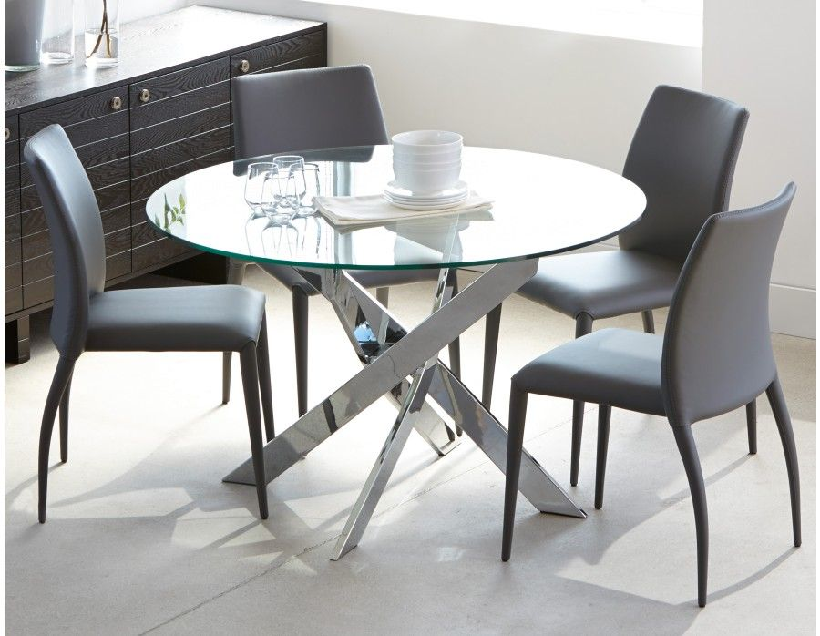 IBIZA Round Glass And Chrome Dining Table 47u0027u0027