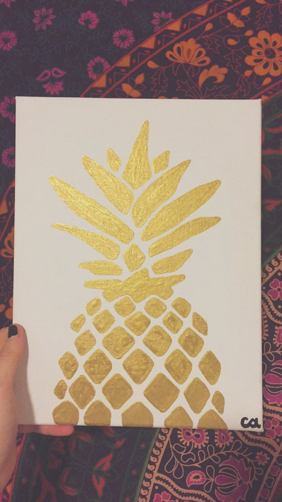 Photo of Gold metallic pineapple painting, ready to ship, 8×10 acrylic on canvas, simple pineapple art, home decor, wall art