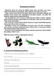 english worksheet endangered animals teaching english pinterest english vocabulary and. Black Bedroom Furniture Sets. Home Design Ideas
