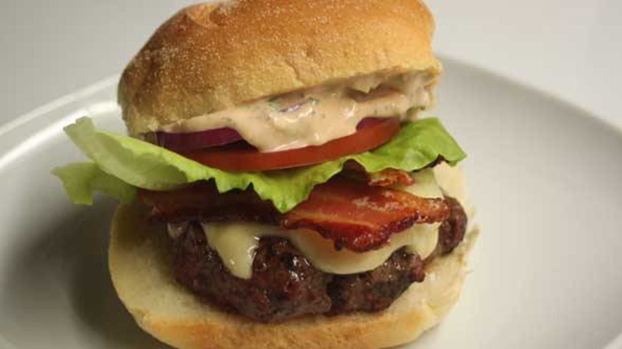 BLT Burgers with Swiss and Russian-Style Aioli with Garlic and Herbs.