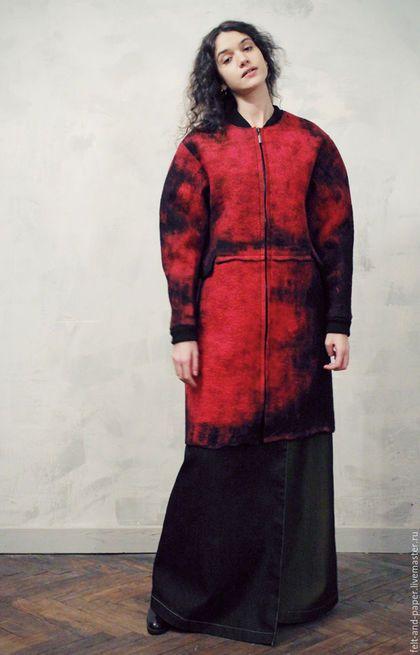 f6949ae5c6b Верхняя одежда ручной работы. Красное пальто из ручного войлока PolarPilot.  Felt Paper. Ярмарка Мастеров. Пальто из войлока