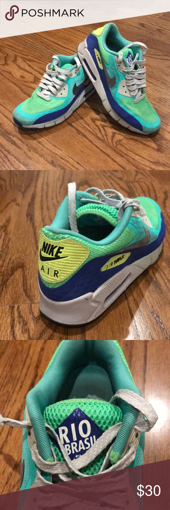 """buy online 71bf6 b138c Men s Nike Air Max 90 Breathe """"Rio Brasil"""" Men s Air Max Sneakers. Used but  still in good condition. Vibrant green, blue and yellow colors."""