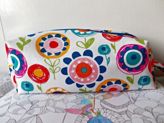Crayon Flowers Pencil Case, Bright Pen Bag, Colourful Pencil Pouch, Art Accessories, Floral Pen Bag, Zipped Pouch, Pencil Holder