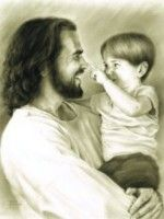 Innocence by Bowman. A candid moment captured of Jesus playing with a child. So delightful!