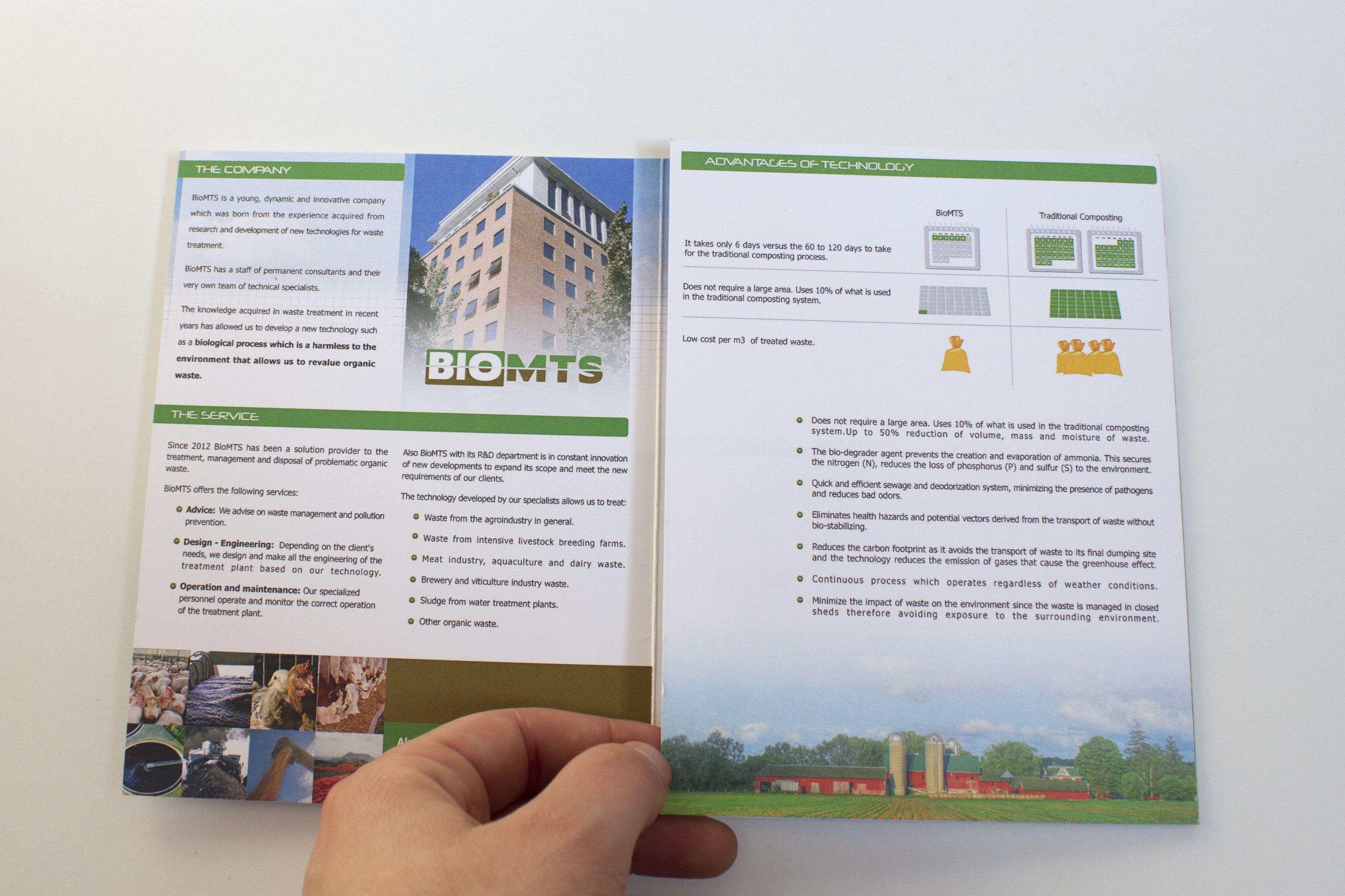 Tríptico promocional de los servicios de la empresa BioMTS para ser utilizado en ferias nacionales e internacionales. www.biomts.cl