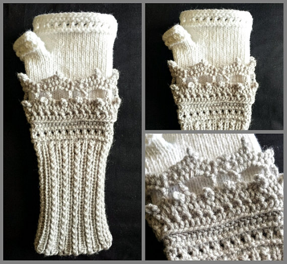 LOOM Knitting Pattern Tiara Fingerless Gloves / Fine & Small Gauge Loom / Women's Gift Idea / PDF Instant Download ONLY