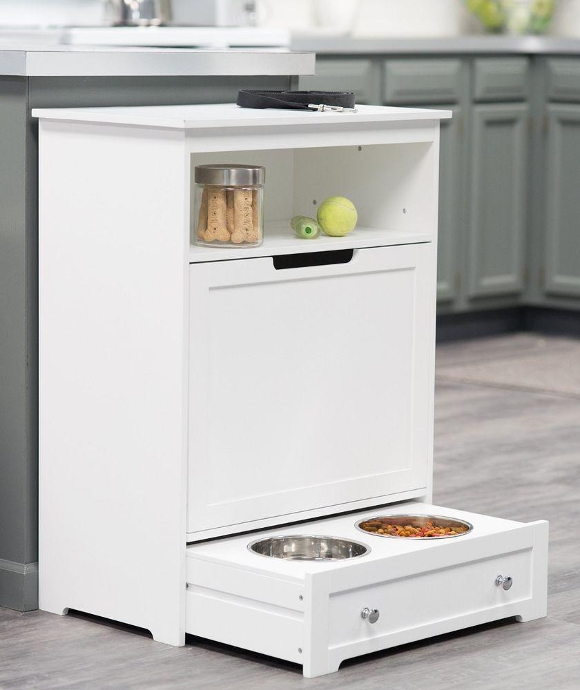 Pet Food Supplies Cabinet Feeder Storage Station Dog Cat Bowl Kitchen  Furniture