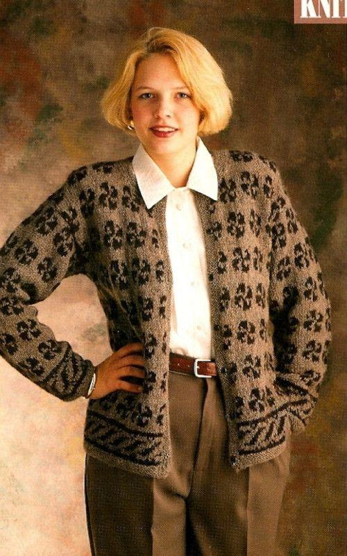 W093 Knit PATTERN ONLY Pinwheel Motif Cardigan Sweater ...