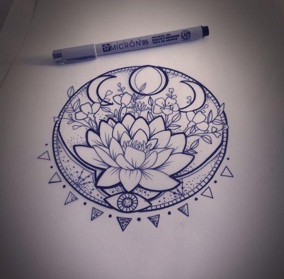 lunar phase lotus tattoo ideen zeichnungen und t towierungen. Black Bedroom Furniture Sets. Home Design Ideas
