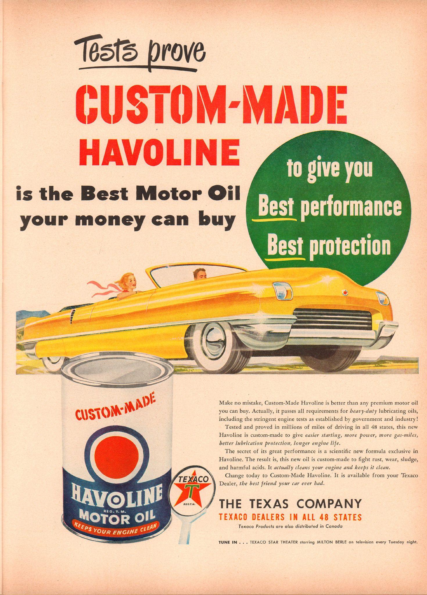 1950 Havoline Motor Oil Advertisement Life Magazine March