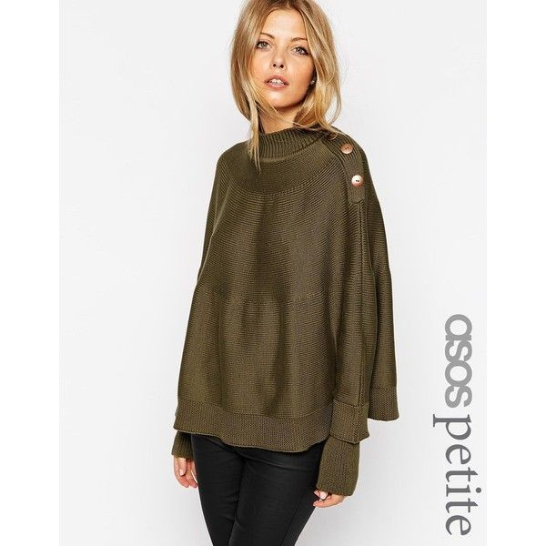 ASOS PETITE Cape with Button Detail ($63) ❤ liked on Polyvore ...