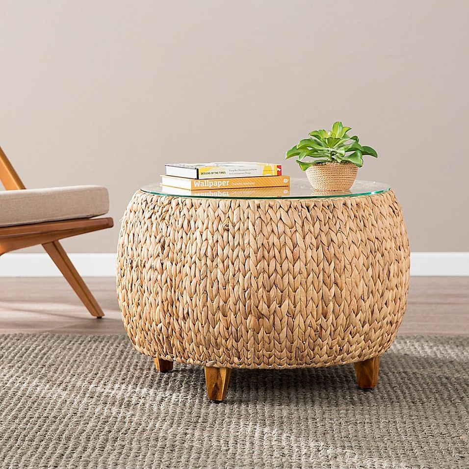 Southern Enterprises Jokobe Round Water Hyacinth Cocktail Table In Natural Wicker Coffee Table Coffee Table Round Coffee Table [ 956 x 956 Pixel ]